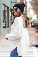 Popcorn Eyelash Knit Oversized Sweater Side View