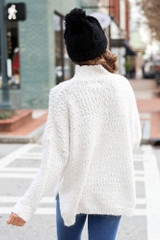 Popcorn Eyelash Knit Oversized Sweater Back View