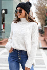 White - Popcorn Eyelash Knit Oversized Sweater from Dress Up