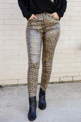 Leopard - Leopard Coated Mid-Rise Skinny Jeans