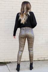 Leopard Coated Mid-Rise Skinny Jeans Back View