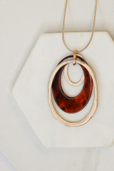 Rust - Acrylic Oval Pendant Necklace from Dress Up
