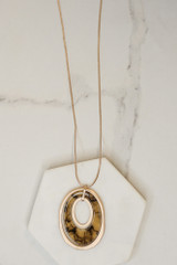 Taupe - Acrylic Oval Pendant Necklace from Dress Up