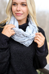 Black - Model wearing the Faux Fur Infinity Scarf in Black Close Up View