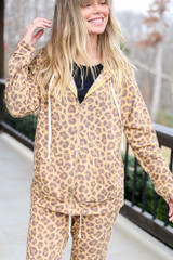 Camel - Model wearing the Camel Leopard Fleece Lined Jacket with matching Leopard Fleece Joggers Close Up View