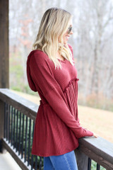 Burgundy - Waffle Knit Babydoll Hoodie from Dress Up