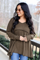 Olive - Waffle Knit Babydoll Hoodie from Dress Up
