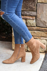 Pointed Toe Block Heel Booties in Tan Flat Lay from Dress Up Close Up Side View