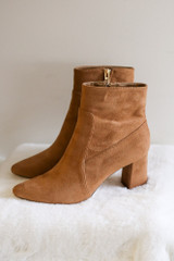 Pointed Toe Block Heel Booties in Tan Flat Lay from Dress Up Side View