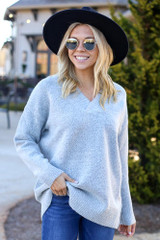Heather Grey - Brushed Knit Oversized Sweater from Dress Up