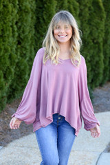 Mauve - Jersey Knit Balloon Sleeve Top Front View