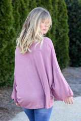 Mauve - Jersey Knit Balloon Sleeve Top Back View