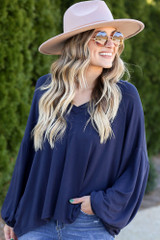 Navy - Close Up of the Jersey Knit Balloon Sleeve Top