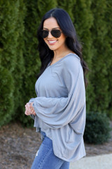 Jersey Knit Balloon Sleeve Top in Charcoal Side View
