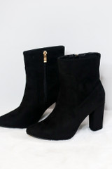 Black - Block Heel Ankle Booties