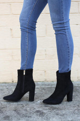 Black - Block Heel Ankle Booties from Dress Up
