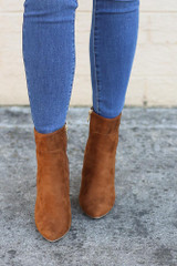 Front View of the Block Heel Ankle Booties in Camel
