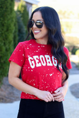 Model wearing the Red Georgia Acid Washed Graphic Tee in Small from Dress Up Front View