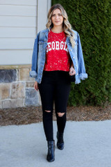 Model wearing the Red Georgia Acid Washed Graphic Tee from Dress Up in Large with denim jacket black skinny jeans Full Outfit View