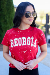 Model wearing the Red Georgia Acid Washed Graphic Tee in Small from Dress Up Close Up View