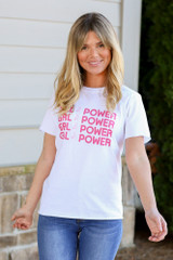 White - Girl Power Always Graphic Tee from Dress Up