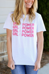 Model wearing the Girl Power Always Graphic Tee in Small Close Up Front View