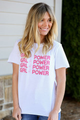 Model wearing the Girl Power Always Graphic Tee in Small with jeans Front View