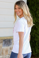 Model wearing the Girl Power Always Graphic Tee in Small with jeans Back View