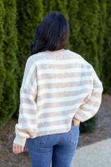 Striped Brushed Knit Sweater Back View