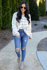 Dress Up Model wearing the Striped Brushed Knit Sweater