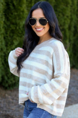 Striped Brushed Knit Sweater Side View