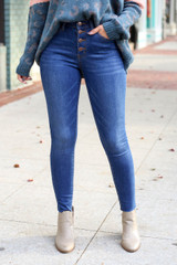Dark Wash - High-Rise Button Front Skinny Jeans from Dress Up