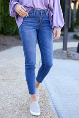 Medium Wash - High-Rise Button Front Skinny Jeans from Dress Up