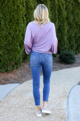 High-Rise Button Front Skinny Jeans in Medium Wash Back View