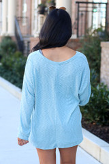 Mint - Ribbed Knit Top Back View