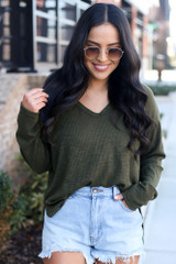 Front View of a Dress Up model wearing the Ribbed Knit Top in Olive