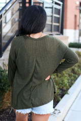 Ribbed Knit Top in Olive Back View