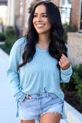 Model wearing the Ribbed Knit Top in Mint