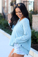 Ribbed Knit Top in Mint Side View