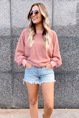 Dress Up Model Wearing a Cozy Mauve Pullover Sweater