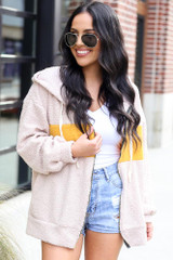 Taupe - Sherpa Teddy Zip Up Hoodie Jacket from Dress Up