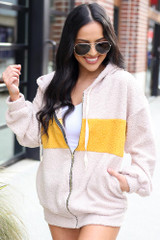 Taupe - Model wearing the Sherpa Teddy Zip Up Hoodie Jacket from Dress Up