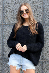 Black - Oversized Chenille Sweater from Dress Up