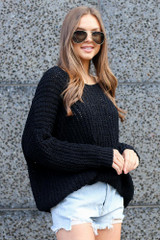 Black - Oversized Chenille Sweater Side View