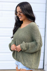 Olive - Oversized Chenille Sweater Side View