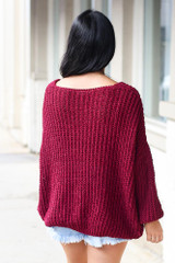 Burgundy - Oversized Chenille Sweater Back View