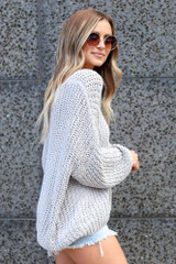 Grey - Oversized Chenille Sweater Side View