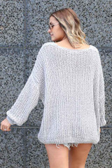 Oversized Chenille Sweater in Grey Back View