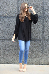 Black - Tie Front Balloon Sleeve Ribbed Knit Tunic from Dress Up