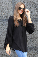 Nora Tie-Front Balloon Sleeve Ribbed Knit Tunic